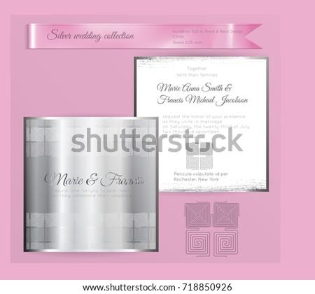 Luxury Wedding Invitation Template Silver Shiny Stock Vector