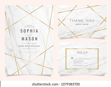 Luxury Wedding Invitations set  for Design  Thank you card , RSVP Stationary with marble vector background cover.
