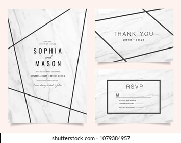 Luxury Wedding Invitations set  for Design  Thank you card , RSVP Stationary with marble background vector cover.
