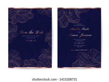 Luxury Wedding invite and Save the Date Card with Navy Blue Marble texture and rose gold floral line arts vector.