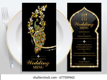 Luxury wedding menu card with gold peacock patterned and gem diamond jewelry have glitter on paper color.