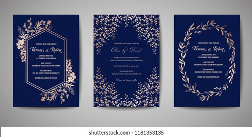 Luxury Wedding Save the Date, Invitation Navy Cards Collection with Gold Foil Flowers and Leaves and Wreath. Vector trendy cover, graphic poster, geometric floral brochure, design template