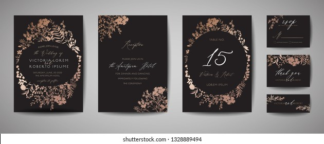 Luxury Wedding Save the Date, Invitation Cards Collection with Gold Foil Flowers and Leaves and Wreath. Vector trendy cover, graphic poster, geometric floral brochure, design template
