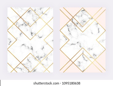Luxury wedding templates with marble geometric design with polygonal golden lines. Modern backgrond for invitation, wedding, placard, birthday, brochure, banner, cover,  layout, card, flyer