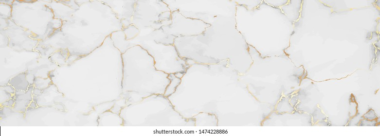 Luxury White Gold Marble texture background vector. Panoramic Marbling texture design for Banner, invitation, wallpaper, headers, website, print ads, packaging design template.