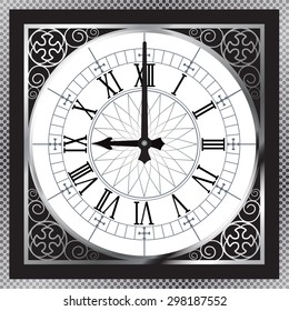 Luxury white gold metal clock with Roman numerals and pattern boarder, isolated pointer. vector illustration.