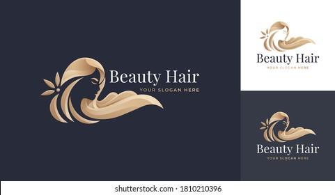 luxury woman hair salon gold gradient logo design