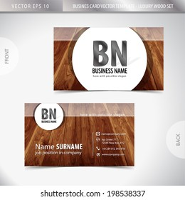 Luxury wooden business card - eps10 vector background