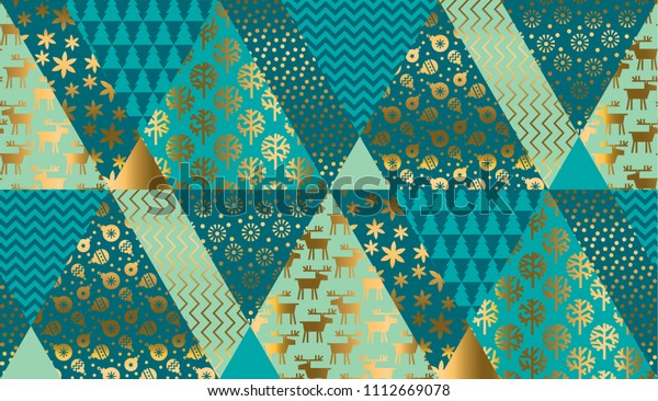 Luxury xmas patchwork seamless pattern for background, wrapping paper, fabric, surface design. Naive Christmas repeatable motif in red and blue colors. stock vector illustration