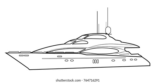 Luxury yacht. Outline of a boat.