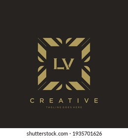 LV Initial letter luxury ornament monogram logo template vector.