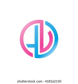 LV initial letters looping linked circle logo blue pink