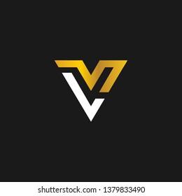 LV or L V letter alphabet logo design in vector format.