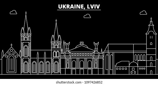 Lviv silhouette skyline. Ukraine - Lviv vector city, ukrainian linear architecture, buildings. Lviv travel illustration, outline landmarks. Ukraine flat icon, ukrainian line banner