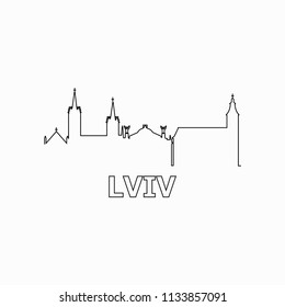 Lviv skyline and landmarks silhouette black vector icon. Lviv panorama. Ukraine
