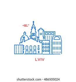 Lvov city architecture retro vector illustration, skyline city silhouette, skyscraper, stroke design