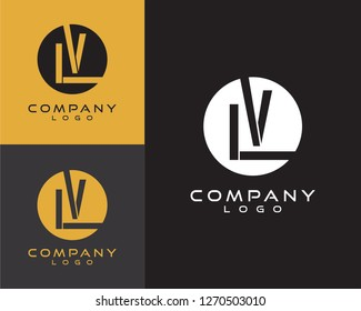 lv/vl initial logo design letter with circle shape