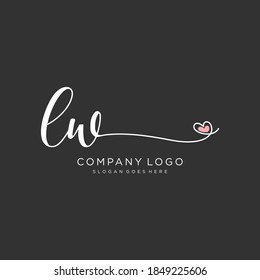 LW Beauty vector initial logo, handwriting logo of initial signature, wedding, fashion, jewelry, boutique, floral and botanical with creative template for any company or business.
