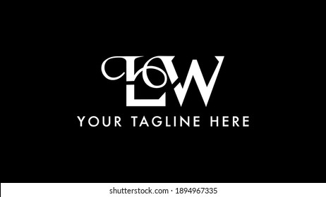 LW monogram logo.Signature style typographic icon with script letter l and letter w.Lettering sign isolated on black background.Calligraphic hand drawn alphabet initials.Modern,elegant style.