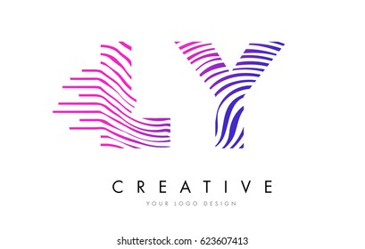 LY L Y Zebra Letter Logo Design with Black and White Stripes Vector