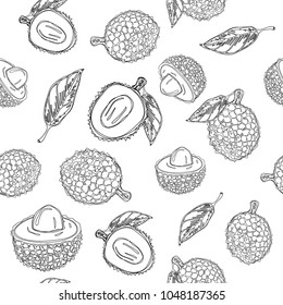Lychee fruit graphic color seamless pattern. Continuous line hand drawn vector illustration.