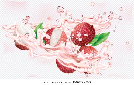 Lychee fruits in burst splashes of juices on a transparent background. Vector mesh illustration