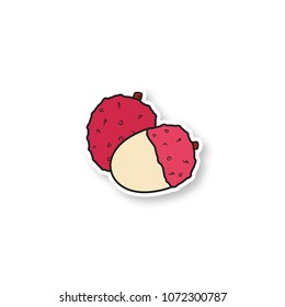 Lychee patch. Color sticker. Vector isolated illustration