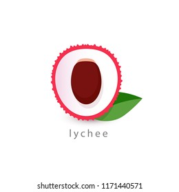 Lychee simple icon. Vegan logo template, minimalism style. Half fruit vector illustration on white background.