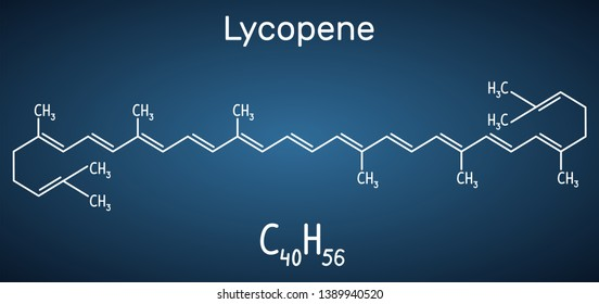 Lycopene molecule. Structural chemical formula on the dark blue background. Vector illustration