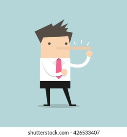 Lying businessman with long nose vector