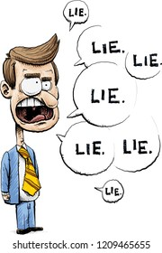 A lying cartoon businessman or politician in a suit with speech bubbles filled with lies.
