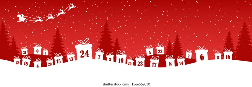lying christmas presents colored white with numbers 1 to 24 showing advent calendar for xmas and winter time concepts, red nature background with fir trees and flying santa claus with reindeers