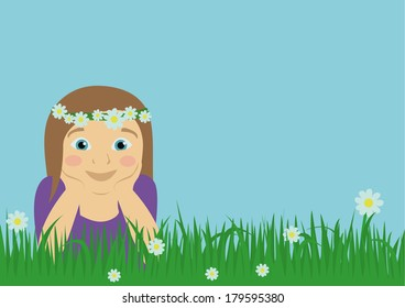 lying girl on meadow with blank place for text