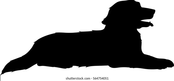 Lying golden retriever vector silhouette