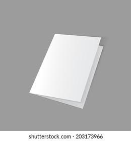 lying half-open blank fold paper brochure on gray background.