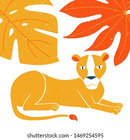 Lying lioness original design. Can be used for poster, greeting card, baby products, birthday party, invitation vector Illustration. Vector illustration