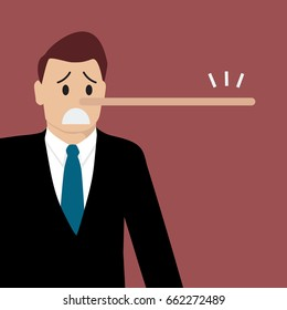 Lying man with long nose. Vector illustration