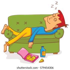 lying and sleeping on sofa