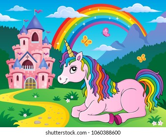 Lying unicorn theme image 2 - eps10 vector illustration.