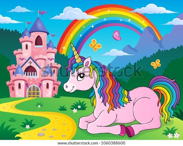 Lying unicorn theme image 2 - eps10 vector illustration.
