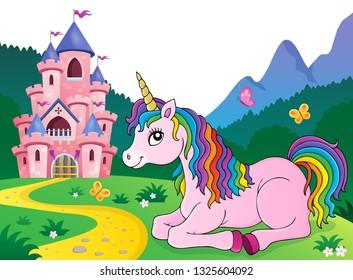 Lying unicorn theme image 4 - eps10 vector illustration.