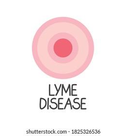 lyme disease text and erythema migrans rash concept- vector illustration