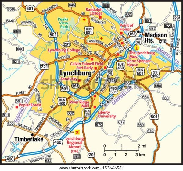 Lynchburg Virginia Area Map Stock Vector (Royalty Free) 153666581