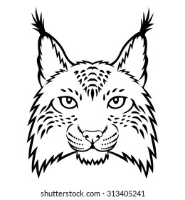 A lynx head logo. This is vector illustration ideal for a mascot and tattoo or T-shirt graphic.
