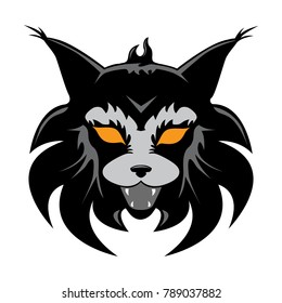 Lynx head with orange eyes vector