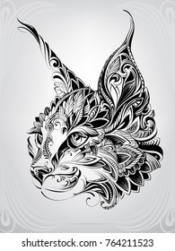 Lynx head in ornament