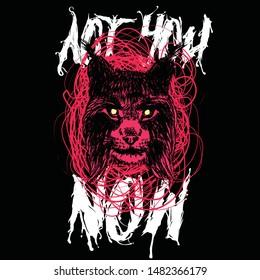 lynx t-shirt print paint cat polka trash polka red dlackwork angry vector paint style art skull-tattoo bobcat black design illustration wild grafic color wildcat