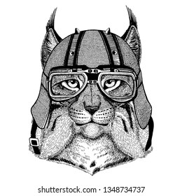 Lynx, wild cat, bobcat, trot wearing a motorcycle, aero helmet. Hand drawn image for tattoo, t-shirt, emblem, badge, logo, patch.