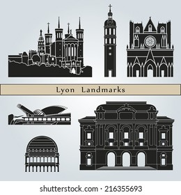 Lyon landmarks and monuments isolated on blue background in editable vector file