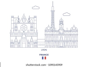 Lyon Linear City Skyline, France